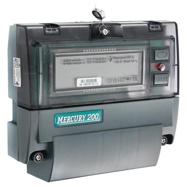 Счетчик Меркурий 200.02 5-60А 220В однофазный многотарифный