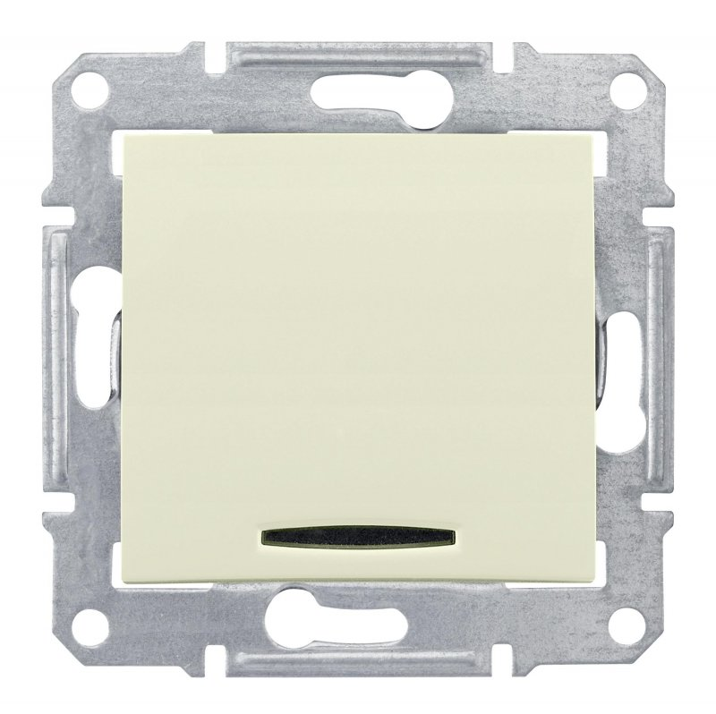 Выключатель одноклавишный SEDNA Schneider Electric с подсветкой крем, Выключатели встраиваемые