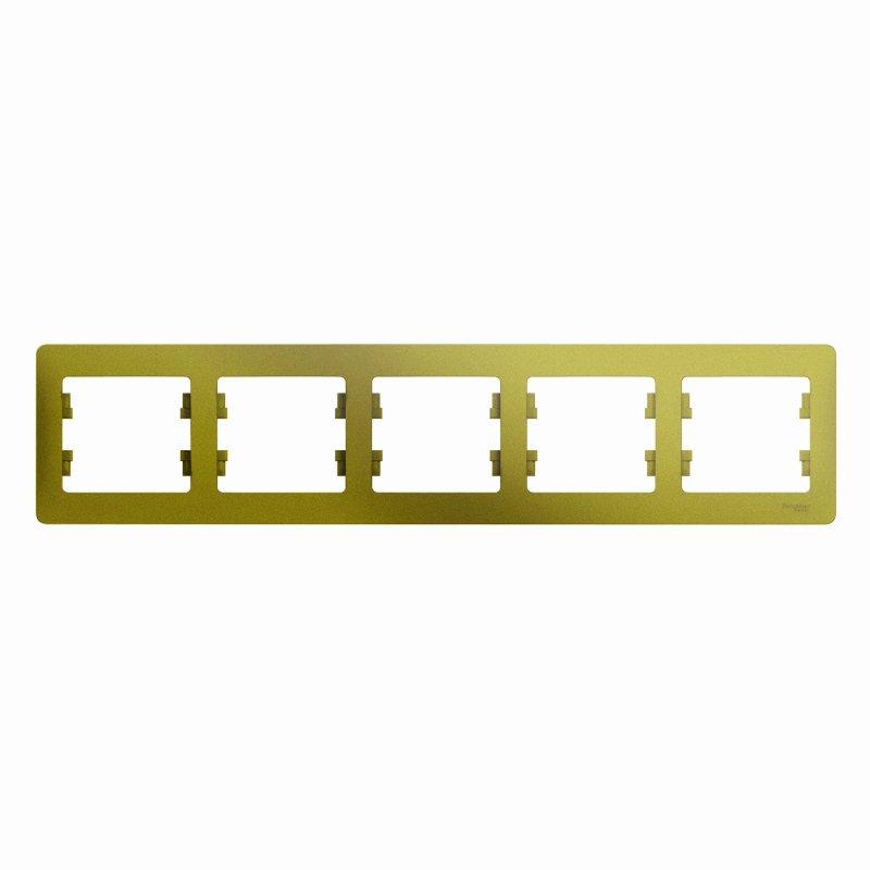 Рамка пятиместная GLOSSA Schneider Electric фисташковая, Рамки и аксессуары
