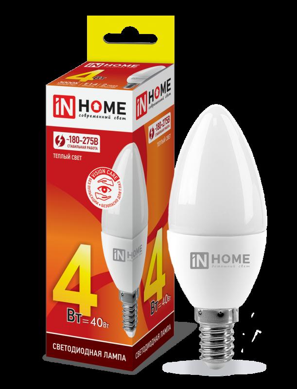 Лампа светодиодная LED-СВЕЧА-VC 4Вт 230В Е14 3000К 360Лм IN HOME, Лампа LED-СВЕЧА