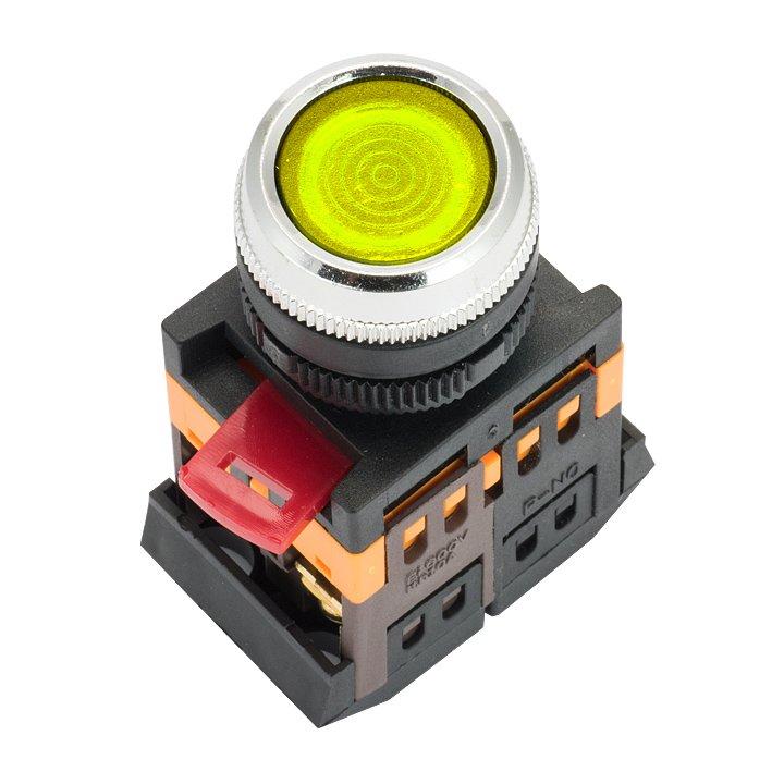 Кнопка ABLFS-22 с подсветкой желтая NO+NC 230В EKF PROxima, Светосигнальная арматура