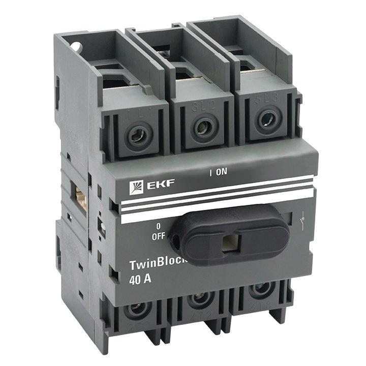 Рубильник 40A 3P c рукояткой управления для прямой установки TwinBlock EKF, Рубильники и разъединители