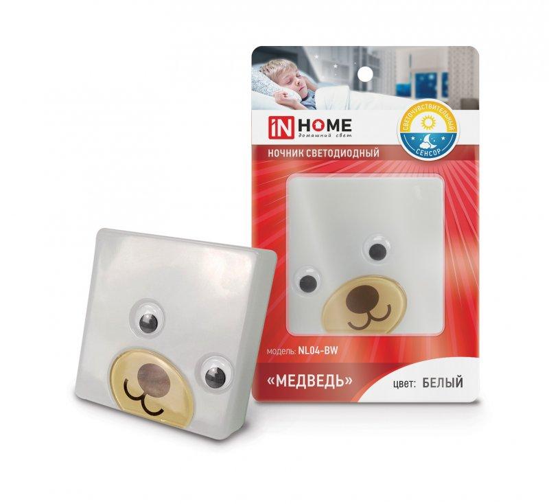 Ночник светодиодный NL04-BW Медведь с датчиком освещения 230В БЕЛЫЙ IN HOME, Ночники светодиодные