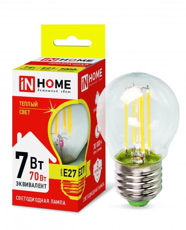 Лампа светодиодная LED-ШАР-deco 7Вт 230В Е27 3000К 630Лм прозрачная IN HOME, Лампа LED-ШАР
