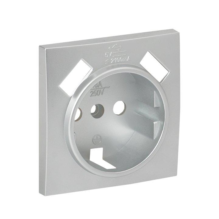 Валенсия лицевая панель розетки 1-местной с/з 16А сталь с защ. штор. с 2 USB 2,1А EKF PROxima, Розетки встраиваемые