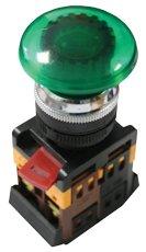 Кнопка AELA-22 зеленая с подсветкой NO+NC 380В Грибок EKF PROxima, Светосигнальная арматура