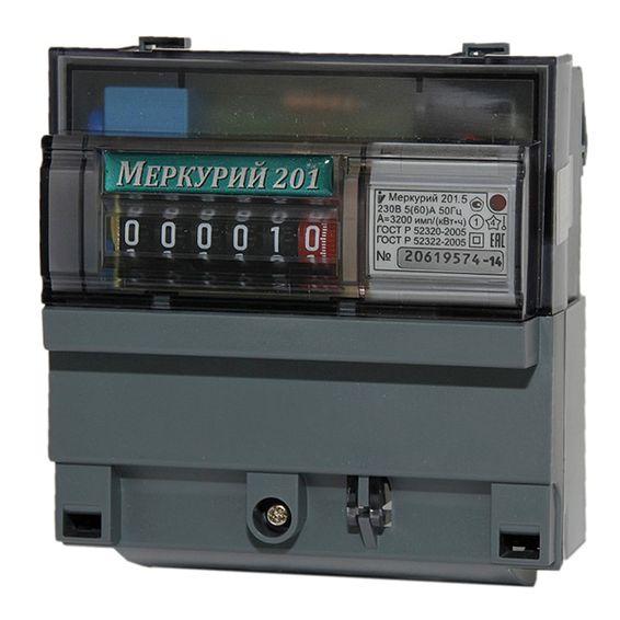 Счетчик Меркурий 201.5 5-60А однофазный однотарифный, Счетчики электроэнергии однофазные