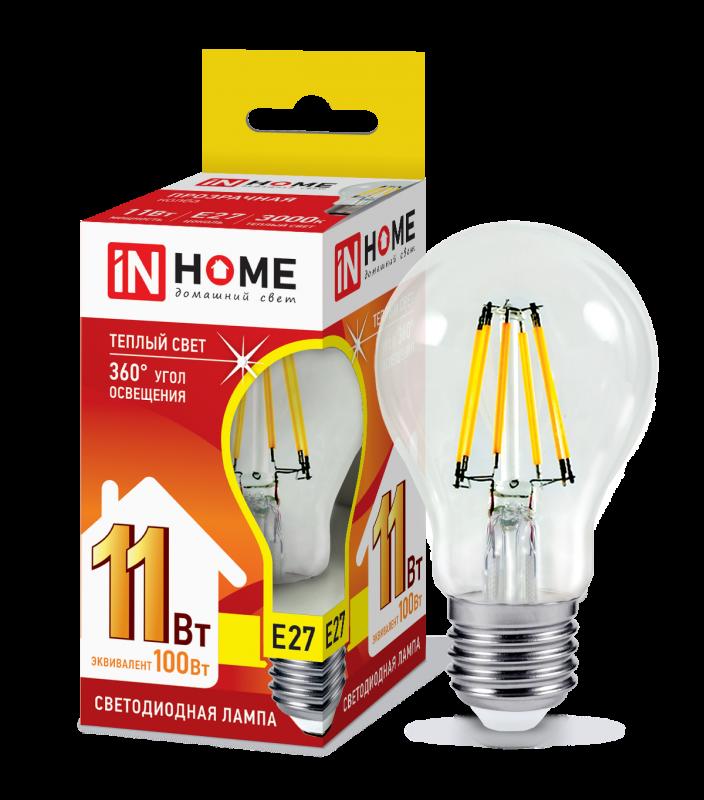 Лампа светодиодная LED-A60-deco 11Вт 230В Е27 3000К 990Лм прозрачная IN HOME