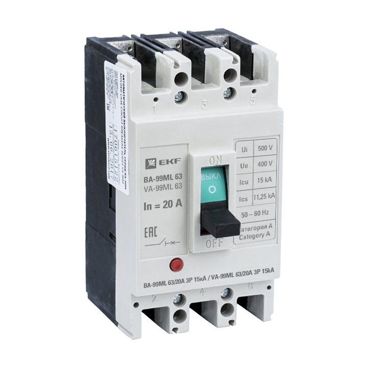 Автоматический выключатель ВА-99МL 63/ 20А 3P 15кА EKF Basic, Автоматические выключатели