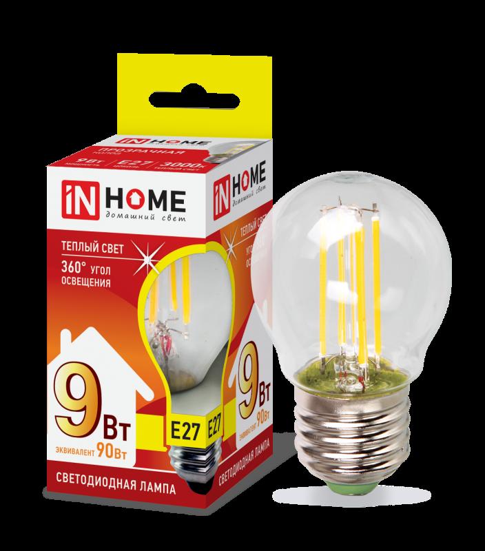 Лампа светодиодная LED-ШАР-deco 9Вт 230ВЕ27 3000К 810Лм прозрачная IN HOME, Лампа LED-ШАР