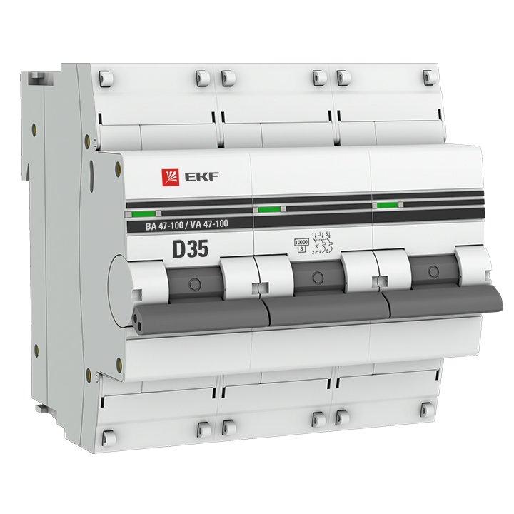 Автоматический выключатель 3P 35А (D) 10kA ВА 47-100 EKF PROxima, Автоматические выключатели
