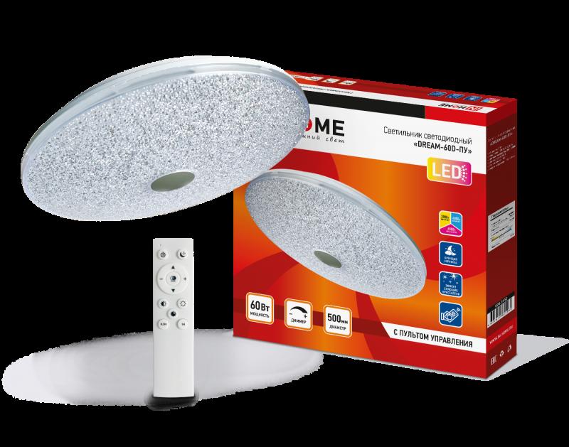 Светильник светодиодный COMFORT DREAM 60Вт 230В 3000-6500K 4800Лм 500x90мм с пультом ДУ IN HOME, Потолочные светильники