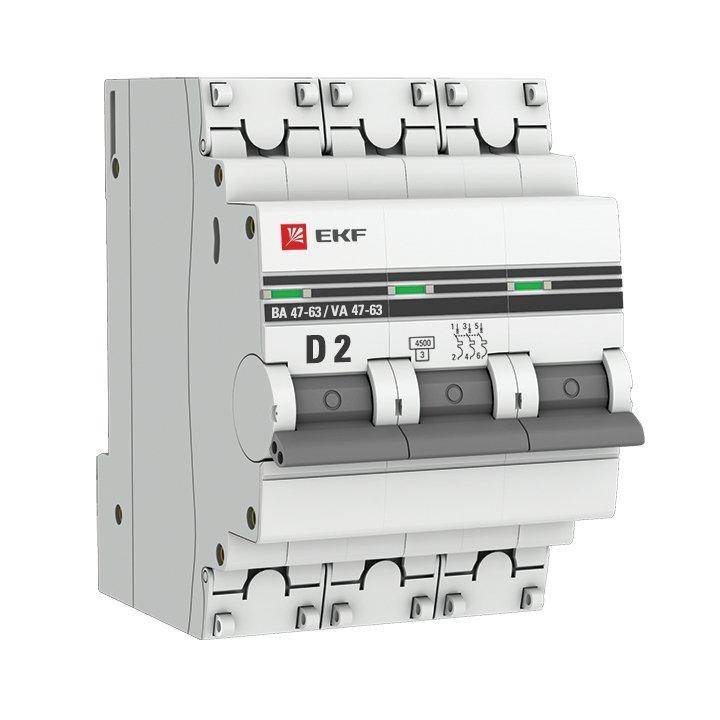 Автоматический выключатель 3P 2А (D) 4,5kA ВА 47-63 EKF PROxima, Автоматические выключатели