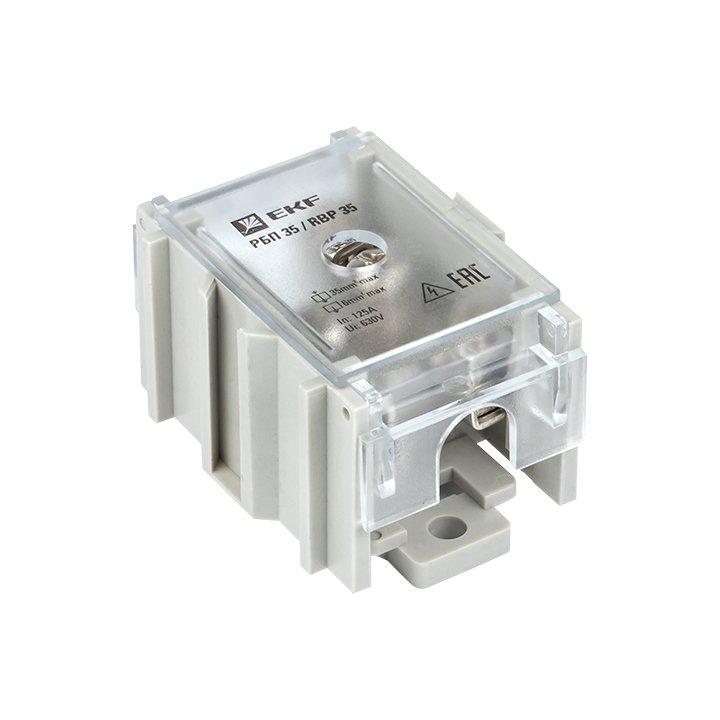 Распределительный блок проходной РБП 35 (1х35-4х6 мм2) 125/50А EKF PROxima, Блоки распределительные