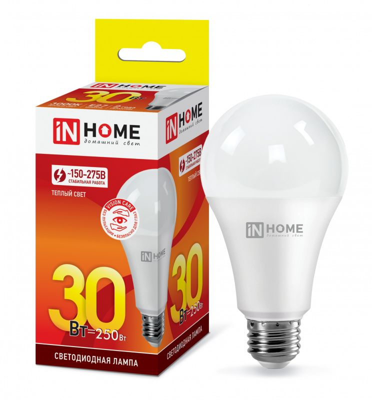 Лампа светодиодная LED-A70-VC 30Вт 230В Е27 3000К 2700Лм IN HOME, Лампа LED-A60