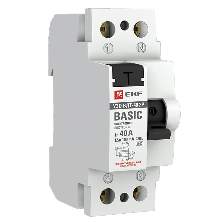 Устройство защитного отключения УЗО ВДТ-40 2P 40А/100мА (электронное) EKF Basic, Устройства защитного отключения