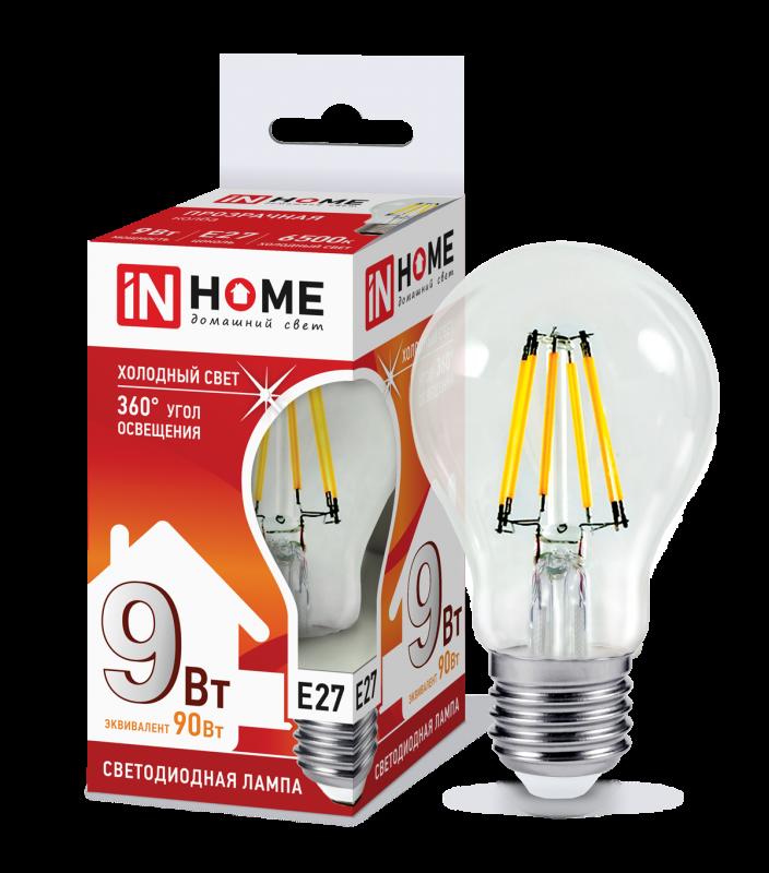 Лампа светодиодная LED-A60-deco 9Вт 230В Е27 6500К 810Лм прозрачная IN HOME, Лампа LED-A60