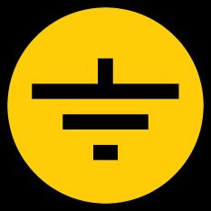 "Самоклеящаяся этикетка символ ""Заземление"" 30х30 мм"