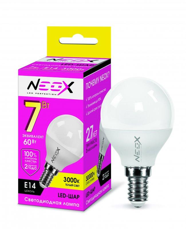 Лампа светодиодная LED-ШАР 7Вт 230В Е14 3000К 560Лм NEOX, Лампа LED-ШАР