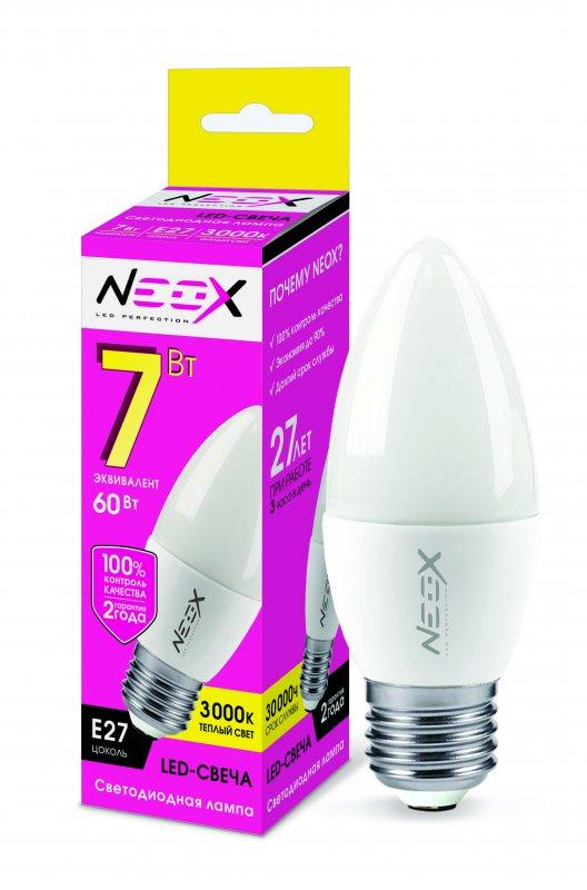 Лампа светодиодная LED-СВЕЧА 7Вт 230В Е27 3000К 560Лм NEOX, Лампа LED-СВЕЧА