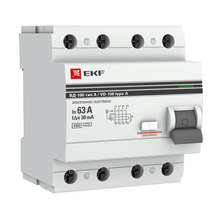 Устройство Защитного Отключения ВД-100 4P 63А/30мА (эл-мех, тип А) EKF PROxima, Устройства защитного отключения