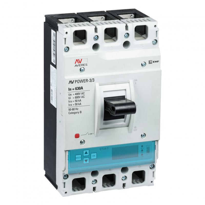 Автоматический выключатель AV POWER-3/3 630А 50kA ETU6.2, Автоматические выключатели