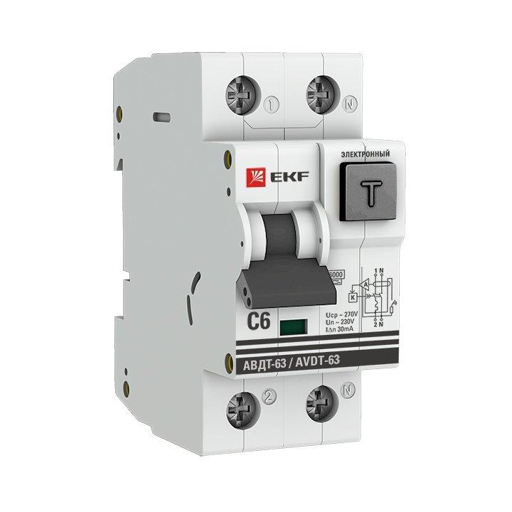 Дифференциальный автомат АВДТ-63  6А/30мА (хар-ка C, электронный тип A) 6кА EKF PROxima, Дифавтоматы АВДТ