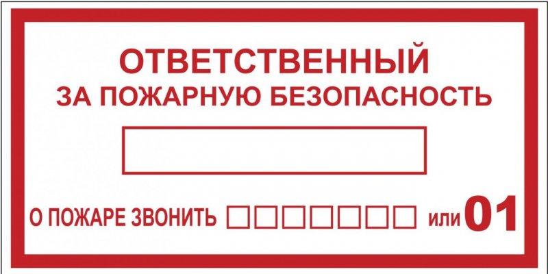 """Наклейка """"Ответственный за пожарную безопасность"""" B03 (100х200мм.) EKF PROxima, Знаки электробезопасности"""