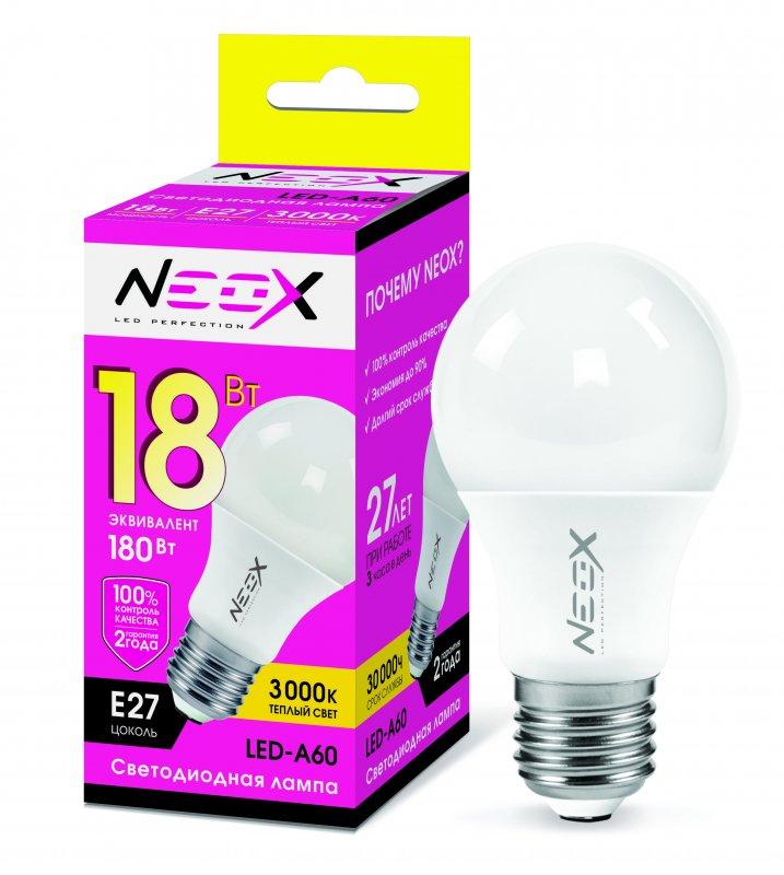 Лампа светодиодная LED-A60 18Вт 230В Е27 3000К 1440Лм NEOX, Лампа LED-A60