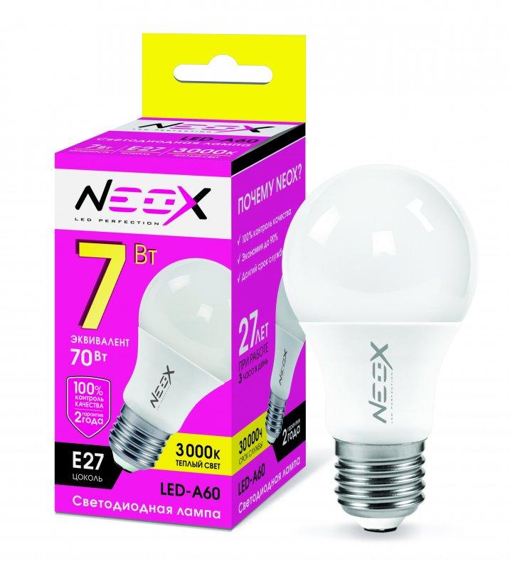 Лампа светодиодная LED-A60 7Вт 230В Е27 3000К 560Лм NEOX, Лампа LED-A60