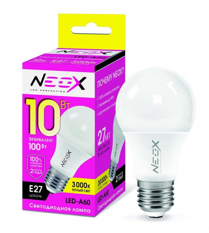 Лампа светодиодная LED-A60 10Вт 230В Е27 3000К 800Лм NEOX, Лампа LED-A60