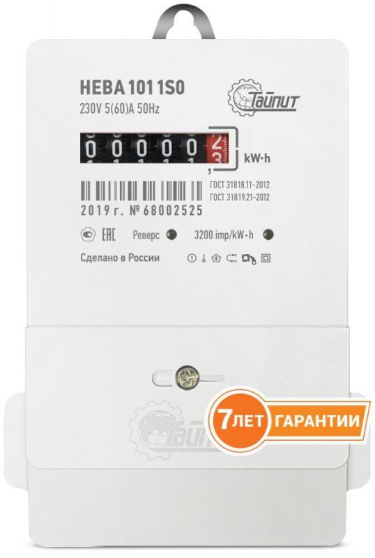Счетчик НЕВА-101 однофазный однотарифный 1SO 220В 5-60А крепление на болты