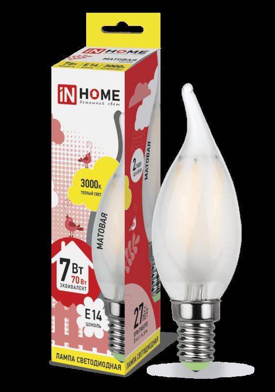 Лампа светодиодная LED-СВЕЧА НА ВЕТРУ-deco 7Вт 230В Е14 3000К 630Лм матовая IN HOME, Лампа LED-СВЕЧА НА ВЕТРУ