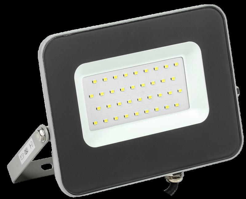 Прожектор светодиодный черный СДО IEK 30 Вт, прожекторы