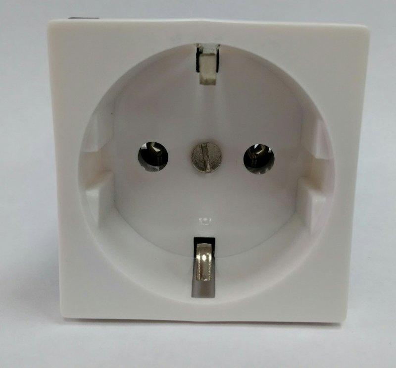 Розетка SPL одинарная с заземлением для кабель-канала белая