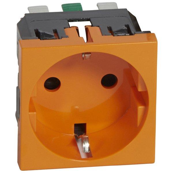 Розетка одинарная Legrand MOSAIC с заземлением для кабель-канала оранжевая