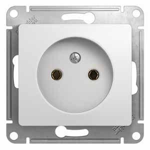 Розетка одинарная GLOSSA Schneider Electric белая, Розетки встраиваемые