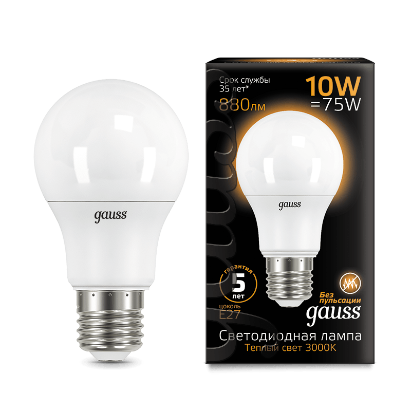 Лампа светодиодная LED-A60 10Вт E27 4100K 920Лм Black GAUSS