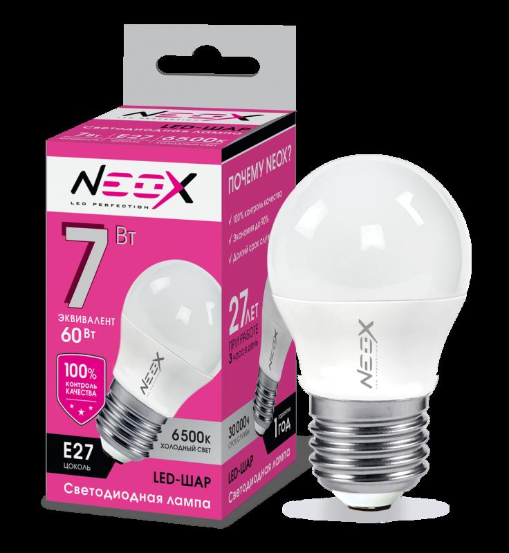 Лампа светодиодная LED-ШАР 7Вт 230В Е27 6500К 560Лм NEOX, Лампа LED-ШАР