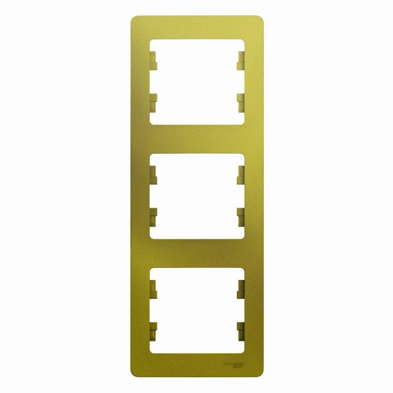 Рамка тройная вертикальная Glossa Schneider Electric фисташковая, Рамки и аксессуары