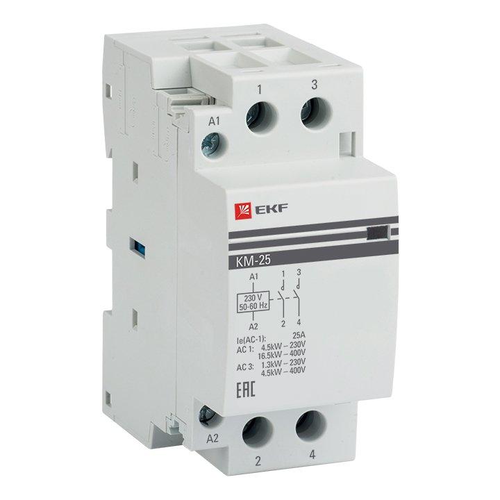 Контактор модульный EKF PROxima КМ 25А 2NО (2 модуля), Контакторы и аксессуары