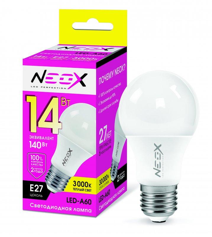 Лампа светодиодная LED-A60 14Вт 230В Е27 3000К 1120Лм NEOX, Лампа LED-A60