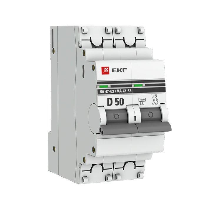 Автоматический выключатель 2P 50А (D) 4,5kA ВА 47-63 EKF PROxima, Автоматические выключатели