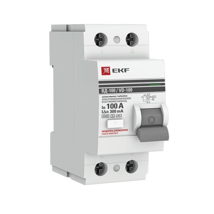 Устройство защитного отключения селективное 2P 100А/300мА (электромеханическое) EKF PROxima, Устройства защитного отключения