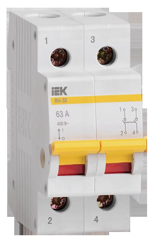 Выключатель нагрузки (мини-рубильник) IEK ВН-32 2Р 100А, Выключатели нагрузки