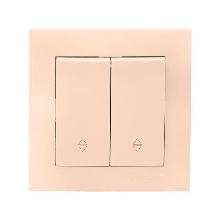 Валенсия выключатель 2-кл. 10А кремовый проходной EKF PROxima, Выключатели встраиваемые