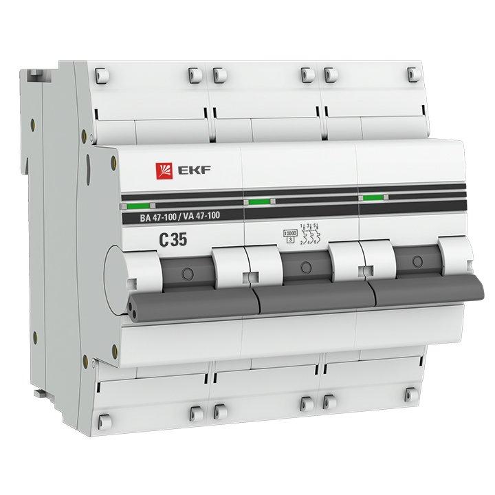 Автоматический выключатель 3P 35А (C) 10kA ВА 47-100 EKF PROxima, Автоматические выключатели