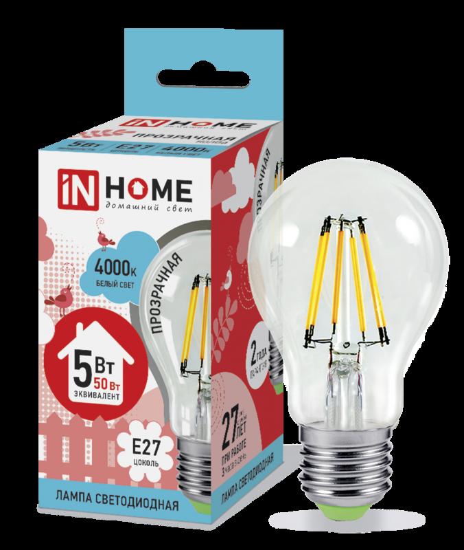 Лампа светодиодная LED-A60-deco 5Вт 230В Е27 4000К 450Лм прозрачная IN HOME, Лампа LED-A60