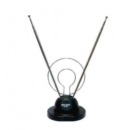 ТB антенна комнатная телескопическая на подставке «Усы + кольцо» (модель RX-100)  REXANT, Штекеры телефонные и телевизионные
