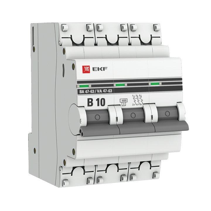 Автоматический выключатель 3P 10А (В) 4,5kA ВА 47-63 EKF PROxima, Автоматические выключатели